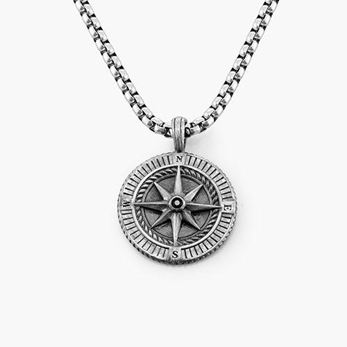 Fero Compass Necklace - Silver
