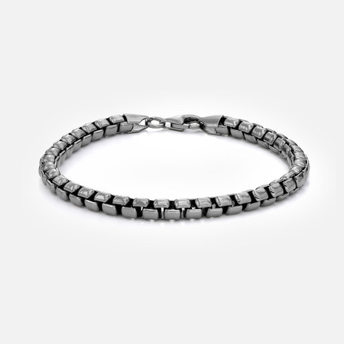 Atlas Box Chain Bracelet - Black Sterling Silver