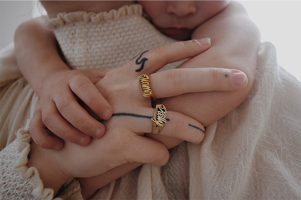 Throwback name ring - Kelly Allen
