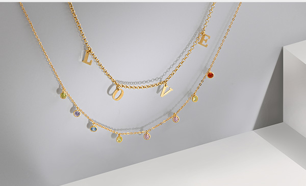 Rainbow necklace - gold plated